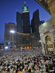 Muslim pilgrims perform their prayers in the Grand Mosque of the holy city of Mecca, on October 22, 2012