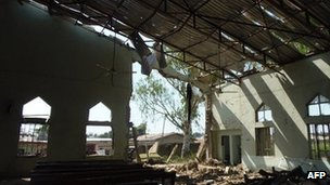 A view of the inside of a church in Kaduna which was targeted by a suicide attacker who detonated a car filled with explosives, in Kaduna, Nigeria, on 28 October 2012