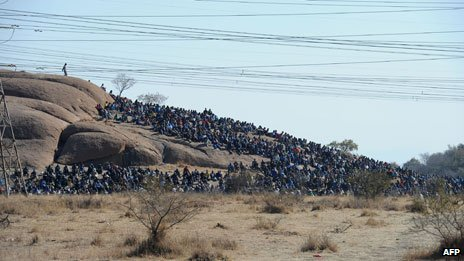 Miners stage a sit-in, Marikana 14 August 2012