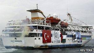 Mavi Marmara leaves Sarayburnu port, Istanbul, 22 May 2010