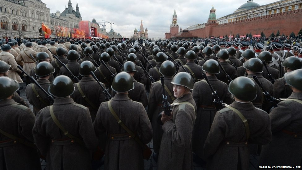 Russian soldiers in a military parade in Red Square
