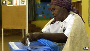A woman voting in Botswana in 2004