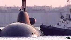 Video grab of Russian submarine following accident in Pacific. File photo