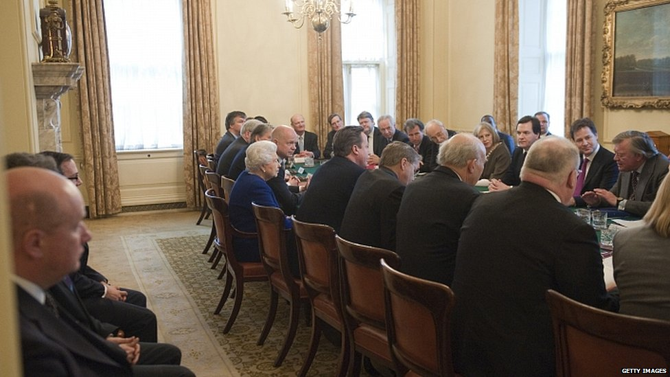 The Queen at the cabinet