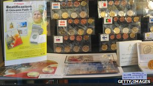 A souvenir stall selling coins in the Vatican