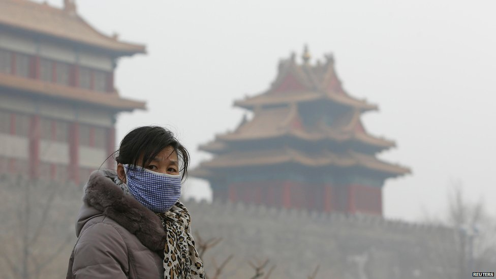 A visitor wearing a mask walks outside the Forbidden City on a heavy haze day in central Beijing January 13, 2013