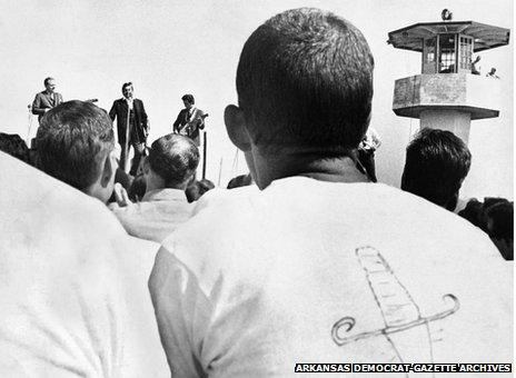 Prisoners' view of Johnny Cash concert at Cummins prison, 10 April 1969. Photo: Arkansas Democrat-Gazette Archives
