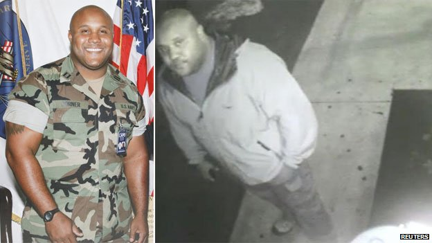 Christopher Dorner in his navy reservist days, and on CCTV after he went on the run
