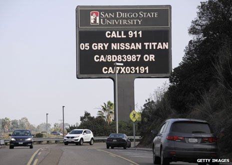 Sign on Interstate 8 with information about Dorner's vehicle