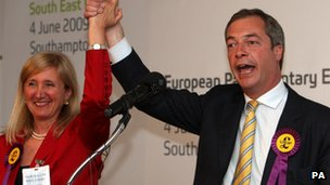 UKIP leader Nigel Farage and MEP Marta Andreasen