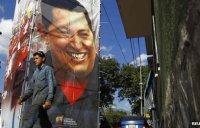 Poster of Venezuelan President Hugo Chavez, Caracas, 25 Feb