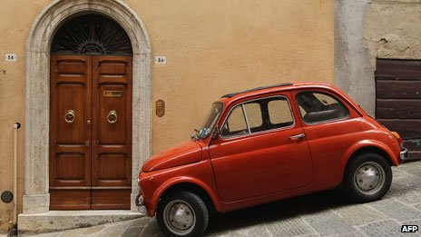 Fiat parked on hill in Montalcino