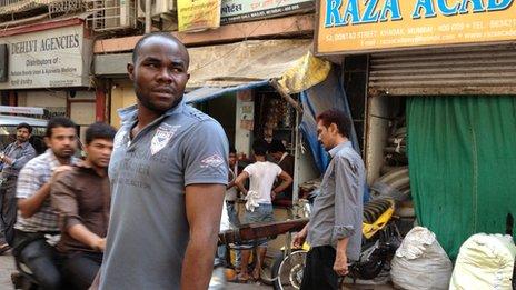 African man in Mumbai street