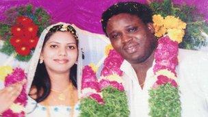 Wedding picture of Sheeba Rani and Sambo Davis