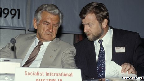 Bob Hawke and his then foreign minister Gareth Evans in 1991