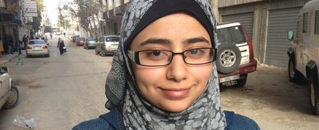 Portrait of Rawan Yaghi, 19 year old Gazan student who is wearing head scarf.