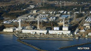 "An aerial view shows Tokyo Electric Power Co.""s (TEPCO) tsunami-crippled Fukushima Daiichi nuclear power plant in Fukushima Prefecture March 11, 2013."