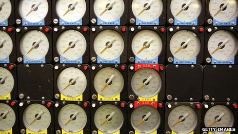 Nuclear reactor dials all pointing to zero