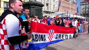 Croatia fans ahead of the grudge match against Serbia