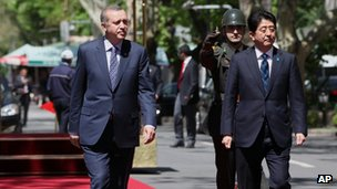 Recep Tayyip Erdogan and Shinzo Abe in Turkey