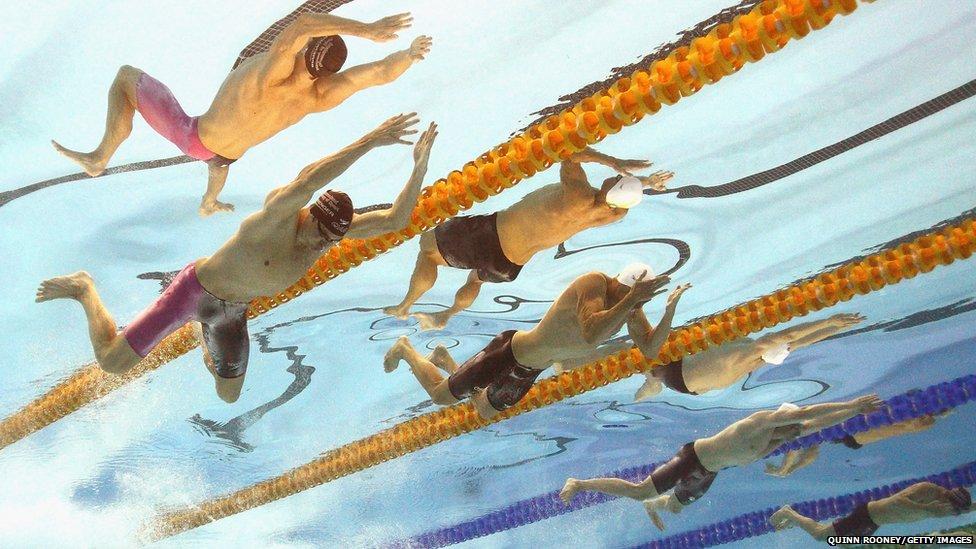 Swimmers Christian Sprenger, Brenton Rickard, Max Ireland and Nikolas Pregelj