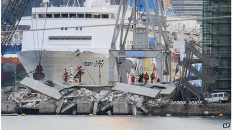 Rubble of the control tower in Genoa port, 8 May 2013