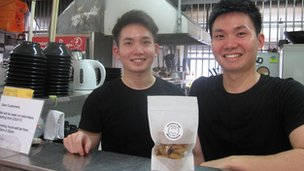 Cai Wei Shing (left) and Cai Wei Li at their hawker stall