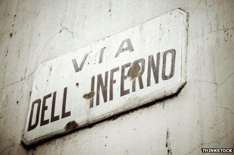 Road sign: Via dell ' Inferno