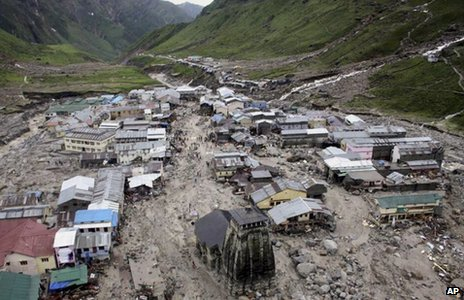 A view of the Hindu holy town of Kedarnath from a helicopter after a flood, in the northern Indian state of Uttarakhand, India, Tuesday, June 18, 2013.