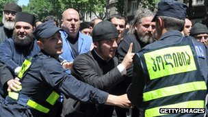 Orthodox priests were at the fore front of the protest over the Gay Pride march in Tbilisi