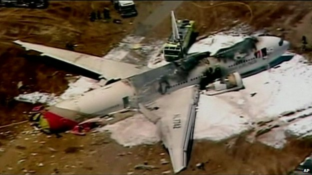 The plane reportedly landed and then crashed on San Francisco International Airport's Runway 28L