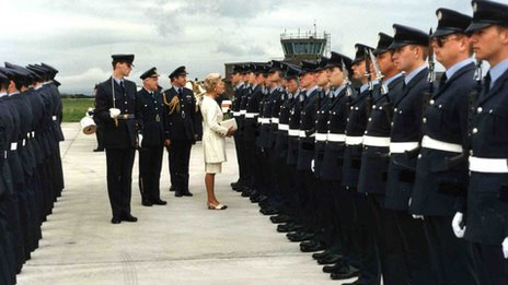 The Duchess of Kent inspecting a parade at St Athan
