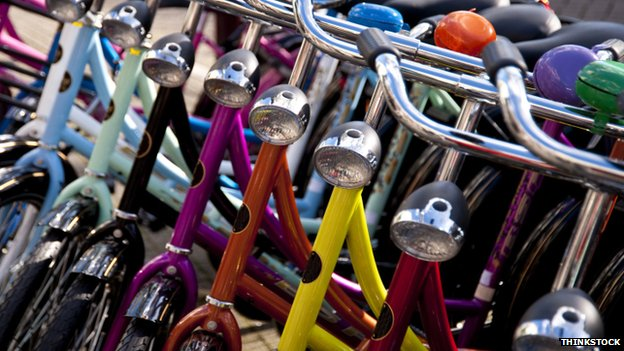 Colourful bicycles parked, Holland