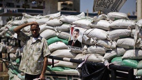 Barricade outside the Rabaa al-Adawiya mosque. 7 Aug 2013