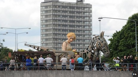 The Godiva puppet in her Coventry homecoming parade