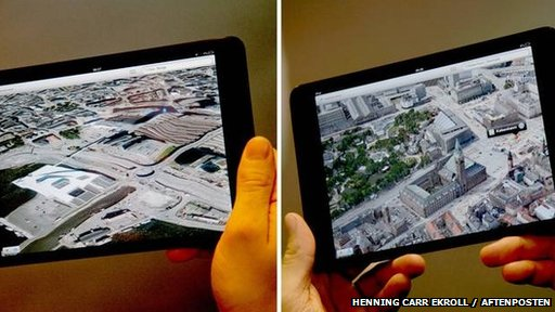 Copenhagen and Oslo compared on Apple maps