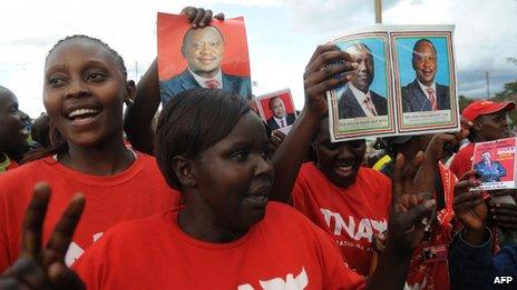Kenyan supporters of Uhuru Kenyatta and his deputy William Ruto - 9 April 2013