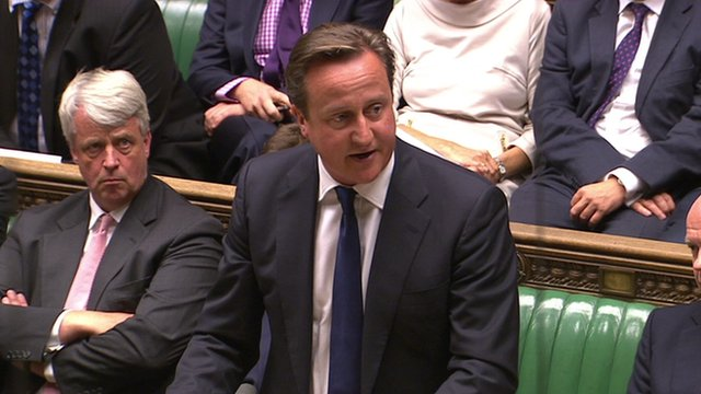 Cameron in House of Commons during Syria debate