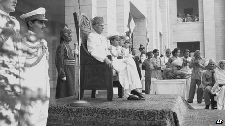 Mohammed Ali Jinnah in Karachi on 17 August 1947
