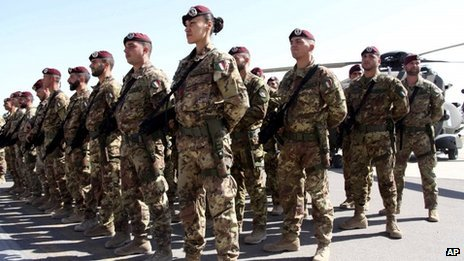 Italian soldiers with the Nato-led International Security Assistance Force (ISAF) near Kabul