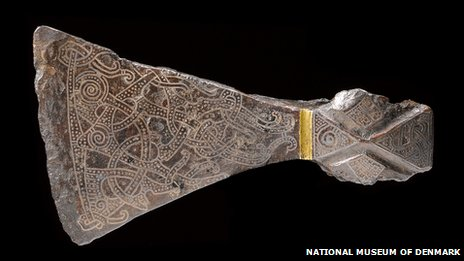 Silver-inlaid axehead in the Mammen style, AD 900s. Bjerringhøj, Mammen, Jutland, Denmark.  Iron, silver, brass. L 17.5 cm. © The National Museum of Denmark