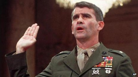Lt. Col. Oliver North is sworn in July 7, 1987, before the Iran Contra Committee prior to his testimony.