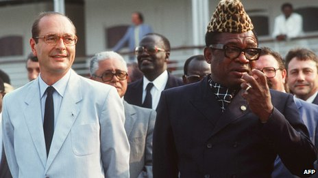 President Mobutu with Jacques Chirac, the then Mayor of Paris, in 1985