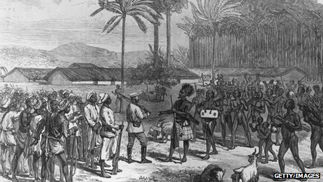 Henry Morton Stanley is greeted by Manyema tribesmen in 1883