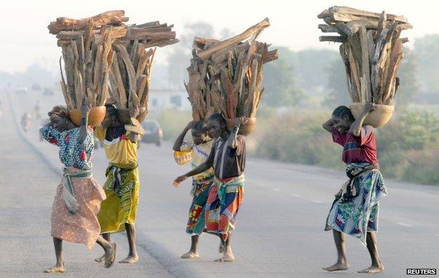 Gwari people crossing road