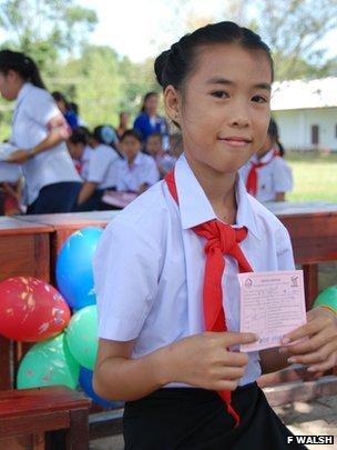 Khonekham with health card with health card