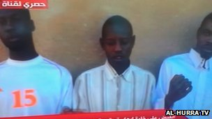 Screen grab from al-Hurra TV in Benghazi showing Chadian suspects arrested by a local brigade