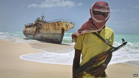 Somali pirate with Taiwanese fishing vessel, Sept 2012