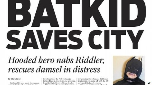 This Friday, 15 November 2013 image released by the San Francisco Chronicle shows a front page of the Gotham City Chronicle to honour Miles Scott, as Batkid