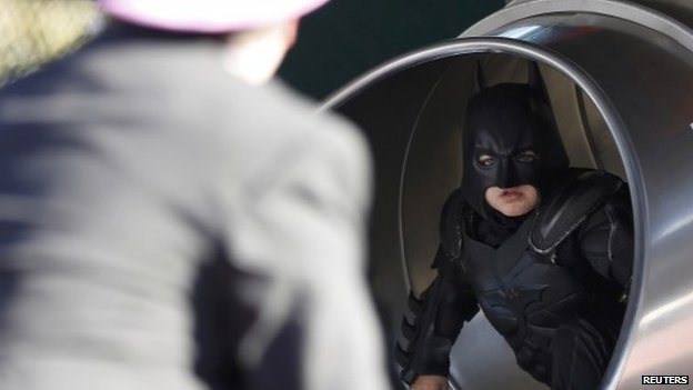 Batkid confronts the Penguin at AT&T Park on 15 November 2013